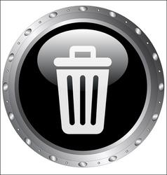 Black Button Icons - Rubbish Bin Icon vector