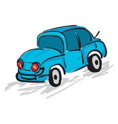 blue car with red headlights color vector image