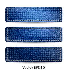 Blue denim jean tag label vector