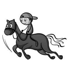 Boy riding a horse vector