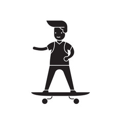 boy skateboarding black concept icon boy vector image