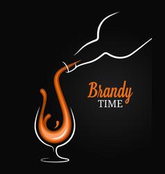 Brandy or cognac splash bottle with glass vector