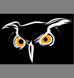 brown silhouette an owl on a black vector image