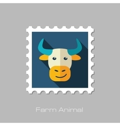 Bull flat stamp Animal head vector image