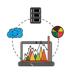 business laptop chart report cloud computing vector image