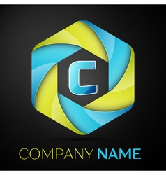 C letter colorful logo in the hexagonal on black vector