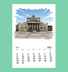 Calendar sheet may month 2021 year germanyberlin vector