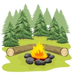 Campfire with stones and wooden logs vector