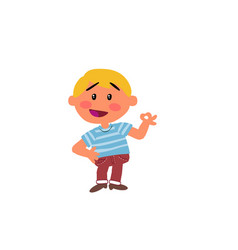 Cartoon character boy in approval attitude vector