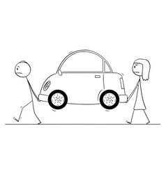 cartoon man and woman carrying broken car or vector image