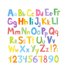 Cartoon typeface multicolored kids abc letters vector