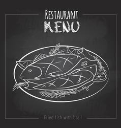 chalk drawing menu design fried fish vector image