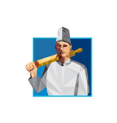 Chef Cook Rolling Pin Low Polygon vector image