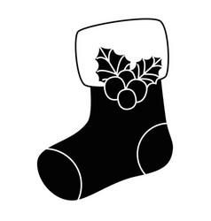 christmas sock decorative icon vector image