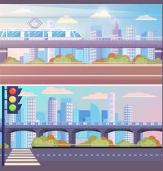 cityscape set empty street bridge with train vector image