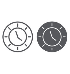 clock line and glyph icon watch and hour time vector image
