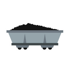 coal trolley icon flat style vector image