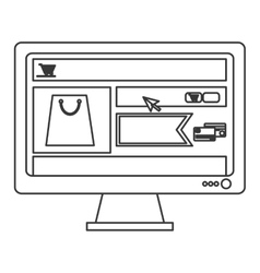 computer monitor with shopping website on screen vector image vector image