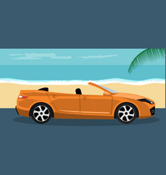 Convertible modern car background on summer vector