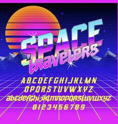 cool italic typeface space travelers vector image