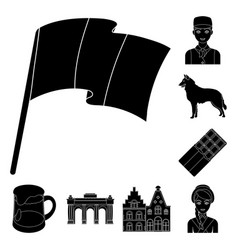 Country belgium black icons in set collection for vector