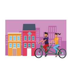 couple in double bike cityscape vector image