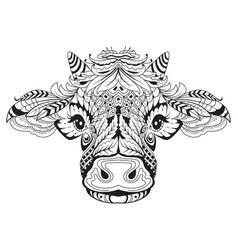 cow head female symbol 2021 tribal tattoo vector image