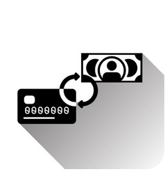 credit card and money exchange or transaction icon vector image