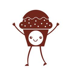 Cup cake sweet kawaii character vector