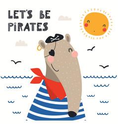 Cute anteater pirate vector