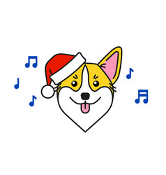 cute corgi dog in santa claus hat sings carols vector image