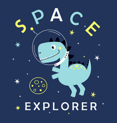cute dinosaur space vector image