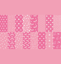 cute pink seamless patterns hand drawn hearts vector image