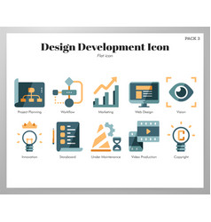 Design development icons flat pack vector