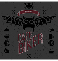 Design elements for the cafe bar for bikers vector