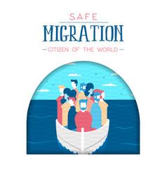 Diverse refugee people on boat for safe migration vector