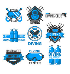 Diving club isolated icons underwater swimming vector