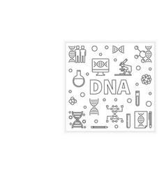 Dna concept outline square design element vector