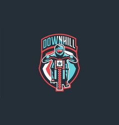 emblem of a cyclist on a mountain bike sport bike vector image