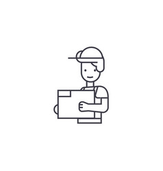 engineer in a helmet line icon sign vector image
