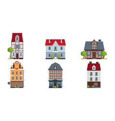 european facades of houses set buildings of vector image