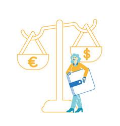 female character enjoy finance success saving vector image