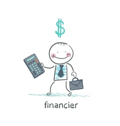 financier with a calculator and dollar signs vector image
