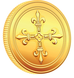 French gold coin ecu vector