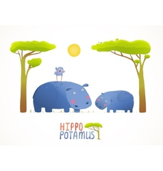 Fun Cartoon Mother and Child African Hippopotamus vector image
