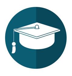 gaduation cap education symbol shadow vector image