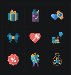 Gift flat colorful shop icons on black vector