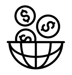 Global money startup icon outline style vector