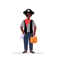 guy wearing pirate costume holding bucket with vector image