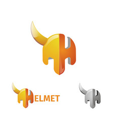 Half helmet and letter h the logo of the armor of vector